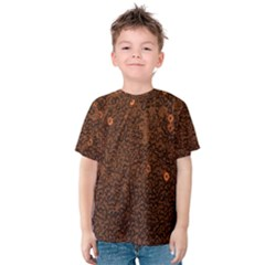 Brown Sequins Background Kids  Cotton Tee by Simbadda