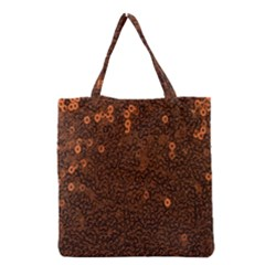 Brown Sequins Background Grocery Tote Bag by Simbadda