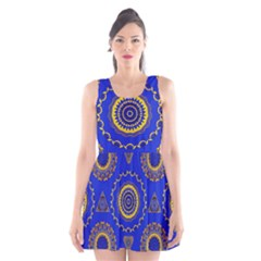 Abstract Mandala Seamless Pattern Scoop Neck Skater Dress by Simbadda