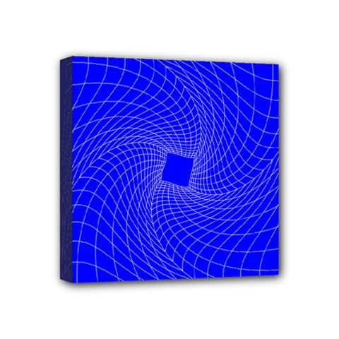 Blue Perspective Grid Distorted Line Plaid Mini Canvas 4  X 4  by Alisyart