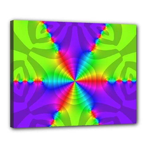 Complex Beauties Color Line Tie Purple Green Light Canvas 20  X 16  by Alisyart