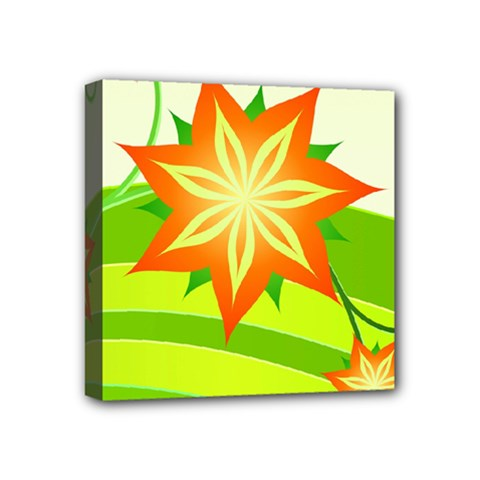 Graphics Summer Flower Floral Sunflower Star Orange Green Yellow Mini Canvas 4  X 4  by Alisyart