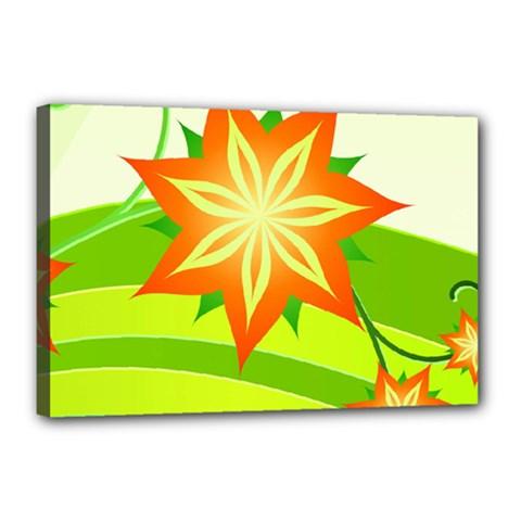 Graphics Summer Flower Floral Sunflower Star Orange Green Yellow Canvas 18  x 12  by Alisyart