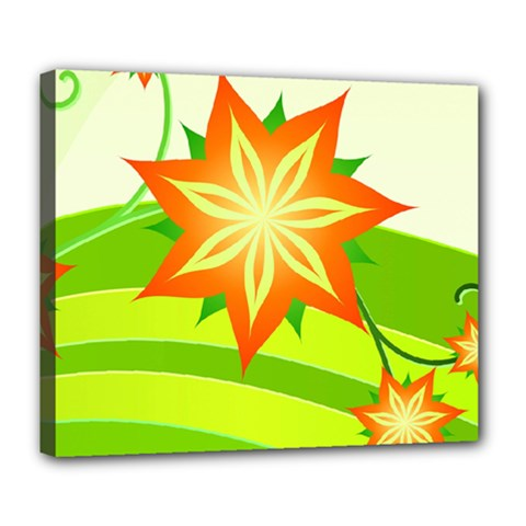 Graphics Summer Flower Floral Sunflower Star Orange Green Yellow Deluxe Canvas 24  X 20   by Alisyart