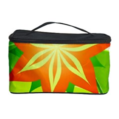 Graphics Summer Flower Floral Sunflower Star Orange Green Yellow Cosmetic Storage Case by Alisyart