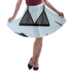 Grown Ups Guide To Underwear Opener Black Blue A Line Skater Skirt by Alisyart