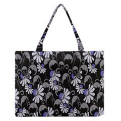 Flourish Floral Purple Grey Black Flower Medium Zipper Tote Bag by Alisyart