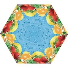 Fruit Water Bubble Lime Blue Mini Folding Umbrellas by Alisyart