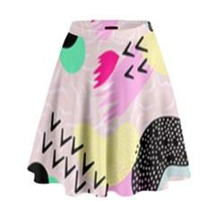 Pink Circle Red Pattern,sexy High Waist Skirt by Alisyart