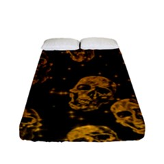 Sparkling Glitter Skulls Golden Fitted Sheet (full/ Double Size) by ImpressiveMoments