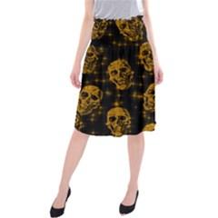 Sparkling Glitter Skulls Golden Midi Beach Skirt by ImpressiveMoments