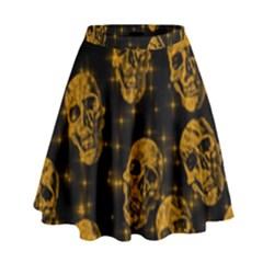Sparkling Glitter Skulls Golden High Waist Skirt by ImpressiveMoments
