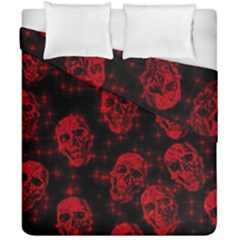 Sparkling Glitter Skulls Red Duvet Cover Double Side (california King Size) by ImpressiveMoments
