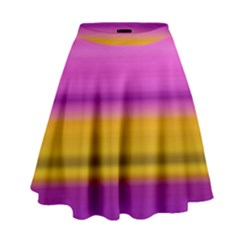 Stripes Colorful Background Colorful Pink Red Purple Green Yellow Striped Wallpaper High Waist Skirt by Simbadda