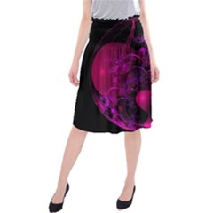 Fractal Using A Script And Coloured In Pink And A Touch Of Blue Midi Beach Skirt