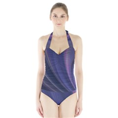A Pruple Sweeping Fractal Pattern Halter Swimsuit by Simbadda