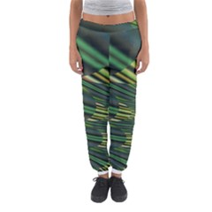 A Feathery Sort Of Green Image Shades Of Green And Cream Fractal Women s Jogger Sweatpants