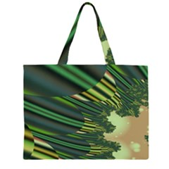 A Feathery Sort Of Green Image Shades Of Green And Cream Fractal Zipper Large Tote Bag by Simbadda