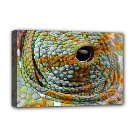 Macro Of The Eye Of A Chameleon Deluxe Canvas 18  X 12   by Simbadda