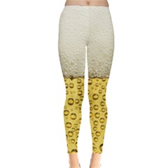 Water Bubbel Foam Yellow White Drink Leggings  by Alisyart