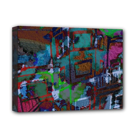 Dark Watercolor On Partial Image Of San Francisco City Mural Usa Deluxe Canvas 16  x 12