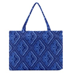 Blue Fractal Background Medium Zipper Tote Bag by Simbadda