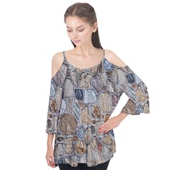 Multi Color Stones Wall Texture Flutter Tees by Simbadda