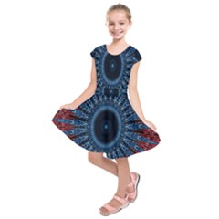 Digital Circle Ornament Computer Graphic Kids  Short Sleeve Dress
