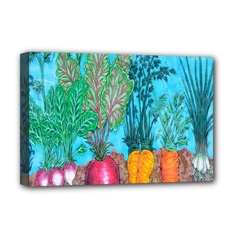 Mural Displaying Array Of Garden Vegetables Deluxe Canvas 18  X 12   by Simbadda