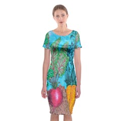 Mural Displaying Array Of Garden Vegetables Classic Short Sleeve Midi Dress by Simbadda