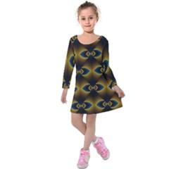 Fractal Multicolored Background Kids  Long Sleeve Velvet Dress by Simbadda