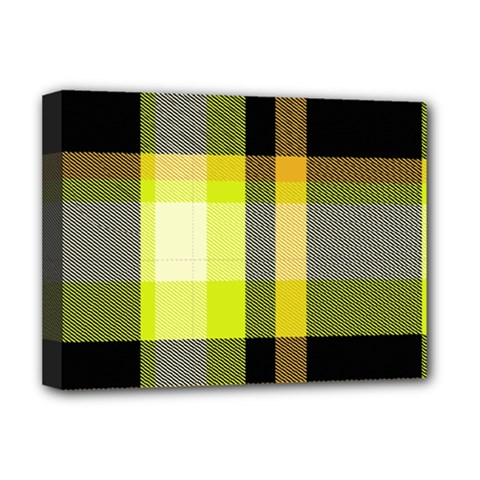 Tartan Pattern Background Fabric Design Deluxe Canvas 16  X 12   by Simbadda