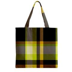 Tartan Pattern Background Fabric Design Zipper Grocery Tote Bag by Simbadda