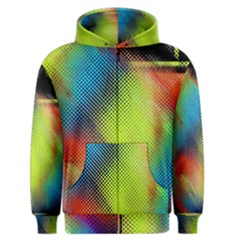 Punctulated Colorful Ground Noise Nervous Sorcery Sight Screen Pattern Men s Zipper Hoodie by Simbadda