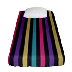 Stripes Colorful Multi Colored Bright Stripes Wallpaper Background Pattern Fitted Sheet (single Size) by Simbadda