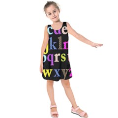 Alphabet Letters Colorful Polka Dots Letters In Lower Case Kids  Sleeveless Dress by Simbadda