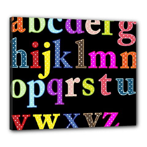 Alphabet Letters Colorful Polka Dots Letters In Lower Case Canvas 24  X 20  by Simbadda