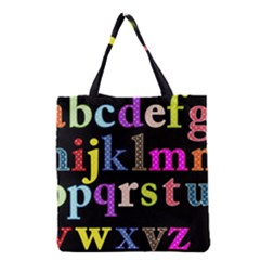Alphabet Letters Colorful Polka Dots Letters In Lower Case Grocery Tote Bag by Simbadda