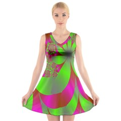 Green And Pink Fractal V Neck Sleeveless Skater Dress