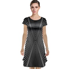 Abstract Of Shutter Lines Cap Sleeve Nightdress