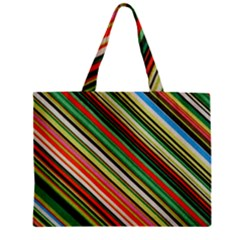 Colorful Stripe Background Zipper Mini Tote Bag by Simbadda