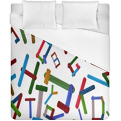 Colorful Letters From Wood Ice Cream Stick Isolated On White Background Duvet Cover (California King Size)