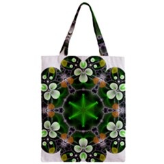 Green Flower In Kaleidoscope Zipper Classic Tote Bag by Simbadda