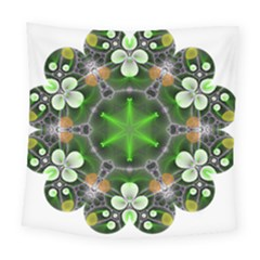 Green Flower In Kaleidoscope Square Tapestry (large) by Simbadda