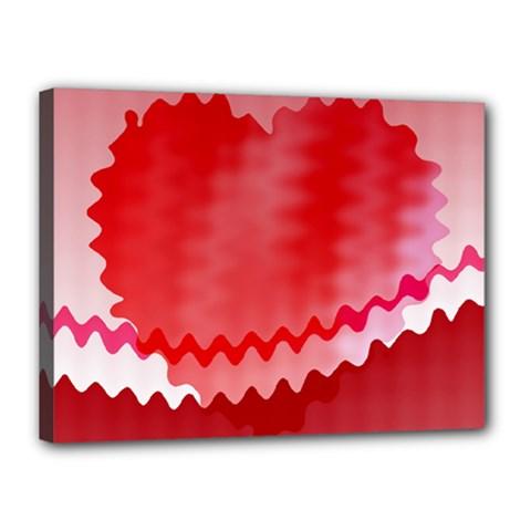 Red Fractal Wavy Heart Canvas 16  X 12  by Simbadda