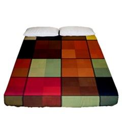 Background With Color Layered Tiling Fitted Sheet (queen Size) by Simbadda