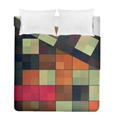 Background With Color Layered Tiling Duvet Cover Double Side (full/ Double Size) by Simbadda
