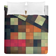 Background With Color Layered Tiling Duvet Cover Double Side (queen Size) by Simbadda