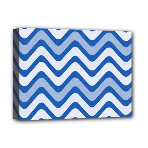 Background Of Blue Wavy Lines Deluxe Canvas 16  X 12   by Simbadda