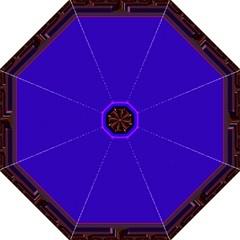 Blue Fractal Square Button Straight Umbrellas by Simbadda